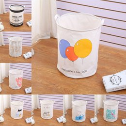 dirty clothing Australia - Foldable Laundry Basket Fabric Dirty Clothes Hamper Cartoon Home Storage Box Round Debris Storage Bucket Back to School Necessity
