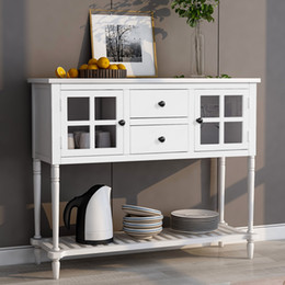 Sideboard Console Table with Bottom Shelf Farmhouse Wood Glass Buffet Storage Cabinet Living Room White WF193444AAK on Sale