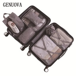 duffle bag suitcase UK - 2020 Folding Travel Bag 7-piece Suit Luggage Organizer Travel Supplies Suitcase Sorting Bag Clothes Packing cubes Duffle Bags CX200822