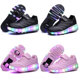 wheel boys shoes Canada - Breakaway LED ultra-light luminous charging double wheel boys and girls Luminous Pulley pulley lamp shoes new wheel shoes