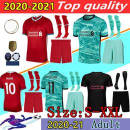 Vente en gros 2020 2021 Liverpool maillot de football Salah chemise de maillot 20 21 Liverpool M. SALAH VIRGILE MANE FIRMINO KEITA kit d'uniformes de football pour hommes + chaussettes