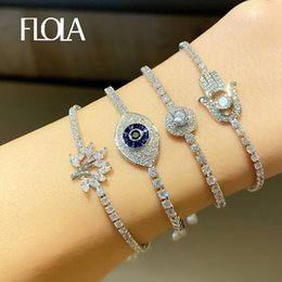 Discount beat jewelry FLOLA Cubic Zirconia Evil Eye Bracelets for Women Fatima Hand Charms Bracelets Crystal Beating Heart Tree Of Life Jewelr