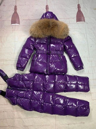 Wholesale real fox jackets resale online - Baby boys girls Jackets Winter Fashion Toddler kids Girl real fox Fur With Hooded Down sets Style Snowsuit children suits