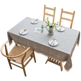 Tablecloth Rectangle Cotton Linen Wrinkle Free Anti-Fading Checkered Design Tablecloths Washable Dust-Proof for Kitchen Dining DHE193 on Sale
