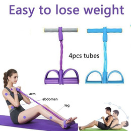 Discount resistance bands exercises for legs 4Tubes Rally Fitness Exercise Resistance Band Rope Latex Sit Up Pedal Puller Leg Abdominal For Stretch Yoga Training Los