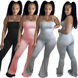 Wholesale sexy big pants for sale - Group buy Women Jumpsuit Sexy Slim Suspenders Tight Big Horn Long Pants Solid Colour Ladies Casual New Fashion Rompers