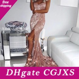 Wholesale high slit backless maxi dress for sale – plus size Sexy Rose Gold Sequin Long Prom Dress Mermaid For Women Maxi Evening Party Dress With High Slit Evening Dresses Formal Gowns Cheap