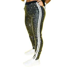 Wholesale sequins pants resale online - Women Pants Fashion Sequins Side Stripe Pencil Pants Casual Natural Color Elastic Waist Pants Women Clothes