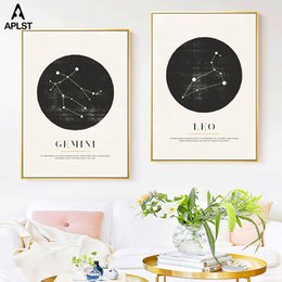 Black & White Constellation Poster Astrology Sign Prints Zodiac Painting Wall Art Geometric Diagram Picture Nursery Kids Decor on Sale