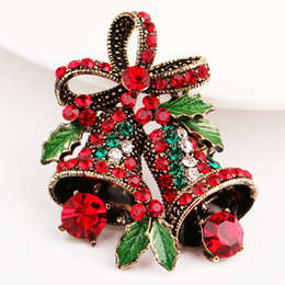Wholesale coats bell resale online - Lovely Two Bow Bells Brooches For Women Christmas Brooches Suit Pins Vintage Creative Gift Jewelry Coat Dress Accessories FWB2010