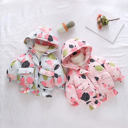 kids girls winter wear jacket NZ - 2020 Winter Warm Baby Girls Candy Print Cotton Down Padded Hooded Thick Parkas Coats Children Kids Snow Wear Outewear Jackets