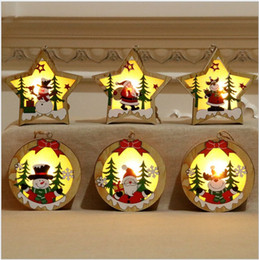 Christmas Luminous Wooden Pendant Christmas Tree Decoration led string Pendant Christmas Gift Decoration Elderly Snowman Deer Window on Sale