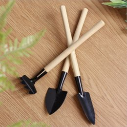 mini rakes shovels Canada - Wholesale Stainless Steel Gardening small shovel 1 Set=3 pcs Mini Garden Tools Small Shovel Rake Spade Wood Handle Metal Head Kids Tool