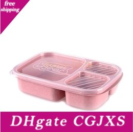 student lunch boxes UK - Natural Wheat Straw Lunch Boxes School Bowls Fast Food Seperated Lunch Box Food Grade Pp Lunch Box Student Portable Bento Box Lxl165