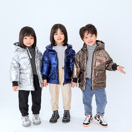 bright coating NZ - Winter New Boys And Girls Coat Middle And Small Children Plus Velvet Warm Hooded Bright Color Cotton-Padded Jacket Coat For Girl