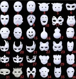 diy paint masquerade mask UK - DIY Hand Painted Halloween White Face Mask Crown Butterfly Blank Paper Mask Masquerade Cosplay Mask Kid Draw Party Masks Props tafr#