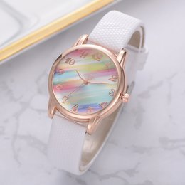 womens wrist band watches Australia - Women Fashion Rainbow Watch Leather Band Wrist Watch Casual Ladies Watch Womens Quartz Watches Relogio Feminino Montre Femme