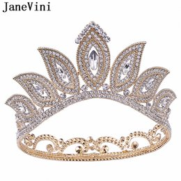 gold crowns for queens Australia - JaneVini Baroque Beaded Diamond Headband Crystal Tiaras and Crowns Hair Jewelry for Braids Vintage Queen Bridal Wedding Royal Crown