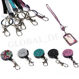 lanyard cell phone holder Australia - Rhinestone Bling Lanyard Crystal neck strap with Horizontal ID Badge Holder key Chain for Id key  iphone 11 cell Phone