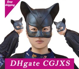 masked costumes for women UK - Fast Shipping 2018 Halloween Stage Cosplay Sexy Batman Cosplay Costume Catwoman Mask Headgear Black Half Face Latex Mask Cosplay Party Mask