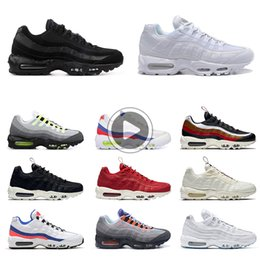 neon sport shoes UK - triple white black 95 OG Mens Running Shoes 95s Neon Bred Panache Grape what the men Sports trainers Sneakers M23Y