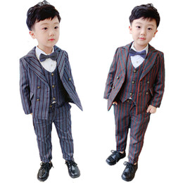 tuxedos for kids Australia - Boys Formal Suit Set Children Striped Blazer Vest Trousers 3pcs Clothing Sets Kids Tuxedo for Wedding Party Performance Costume