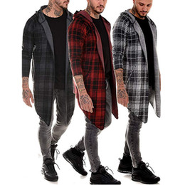 Wholesale plaid trench coat men resale online - long coat men gothic trench coat men cardigan slim long cloak sweater hooded Knitted plaid fashion jacket autumn steampunk