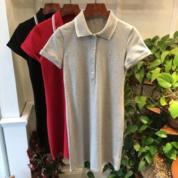 Wholesale red contrast color for dresses for sale – plus size polo collar contrast color embroidered small Label all match young mid length short sleeve for women dress Embroidered Dress