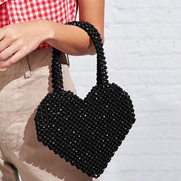 hands bags design NZ - 2020 New Heart-shaped Beaded Bag Hand Beaded Handmade Ins Bag Design Cool Lovely Love Beads Bag