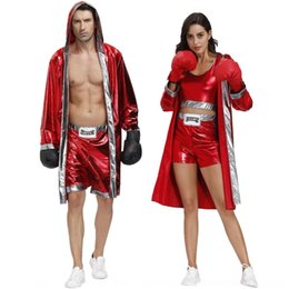 Wholesale thai suits resale online – 92K45 Boxing Cloak clothing costume cloak fighting and women s match costume men s Thai boxing Sanda combat robe suit cosplay clothing