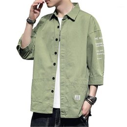 Wholesale korean coats male resale online – Version Loose Single Breasted Tops Summer Designer Male New Short Sleeve Casual Solid Color Shirt Coats Man Half Sleeve Shirt Fashion Korean