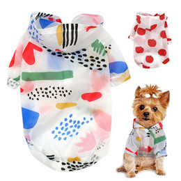 female summer jackets NZ - Dog Raincoat Sun-proof Clothing Summer Sun Protection Hoodie Small Print Poncho For Small Medium Pets Puppy Cat Clothes Dog coats