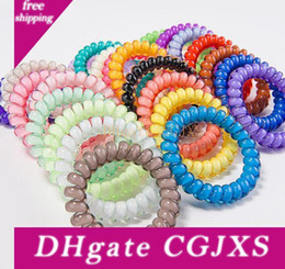 telephone cord hair UK - 27colors 5cm Telephone Wire Cord Gum Hair Tie Girls Elastic Hair Band Ring Rope Candy Color Bracelet Stretchy Scrunchy Cheap Wholesale Dhl