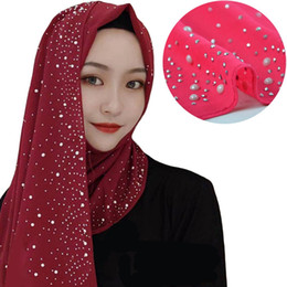 Мода Шелковый шифон шарф Женщины Plain Хиджаб Wrap оголовье Diamonds Chain Pearl марлевые Kerchief мусульманское Хиджаб Lady Платок DDA398 на Распродаже