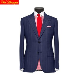 Wholesale tailor suits resale online - custom tailor made Men s suits business formal wedding ware bespoke piece Jacket Pants Vest striped wool polyester slim fit