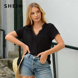 SHEIN Black V Neck Eyelash Lace Trim Top Solid Blouse Women Summer Short Sleeve Ladies Loose Casual Tops and Blouses
