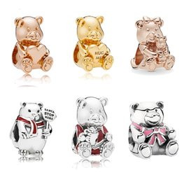 bangle bear Canada - Hug me cute bear charm adapting original pandora bracelet & necklace bangle accessories diy bead jewelry making for women Polar bear