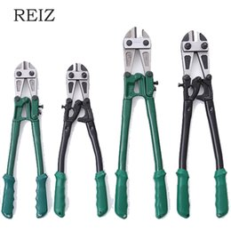 plastic round cutter NZ - REIZ Cutting Pliers Wire Bolt Cutter Thicken High Quality Strong Shear Lock Chain Plastic Handle Labor Saving Y200321