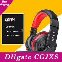 black computer game Australia - Gt -91 Gaming Headset Deep Bass Stereo Computer Game Headphones Over -Ear Earphone With Usb Mic Earbuds Led Light For Pc Professional Gamer