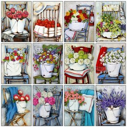 painted art chairs NZ - wall art Full Square Round Drill 5D DIY Diamond Painting Flower Chair Diamond Embroidery Cross Stitch Mosaic Art Home Decor