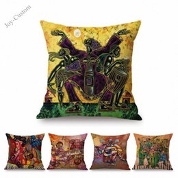 modern music oil painting UK - Modern Africa Oil Painting Musician African Music Drum Abstract Impressionism Home Decorative Throw Pillow Cover Cushion Covers LYf8#