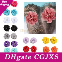 center clips Australia - 10pcs Lovely Baby Girls Mini Chiffon Flowers With Pearl Rhinestone Center Hair Clips Lace Flower For Fashion Girl Party Headwear