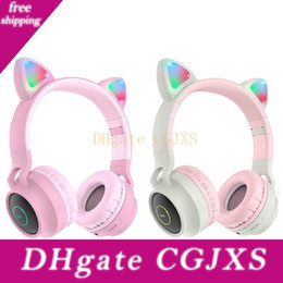 cartoon headset headphone Australia - Led Cat Ear Bluetooth Headphones For Kids Girl Pink Cute Wireless Headsets Cartoon Stereo Headband Earphones Tf Slot Aux Mic For Phone