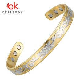 color magnets NZ - OKtrendy Gold Color Pure Copper Bracelet Magnet Therapy Bangle with Flower Carving Charm Bracelets & Bangles For Women Jewelry