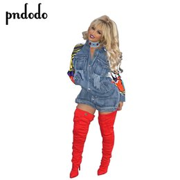 dashiki jackets 2020 - Pndodo Patchwork Graffiti Long Denim Jacket Women Vintage Ripped Pockets Basic Coats Women Casual Veste Dashiki female T