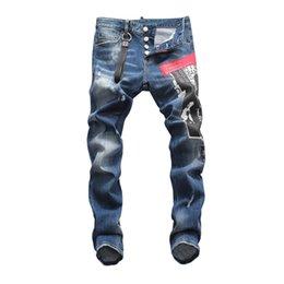 Wholesale design print skinny jeans for sale – denim 2020 fashion men s jeans blue print straight fit ripped ripped jeans high quality skinny denim trousers design hip hop punk men s pants size