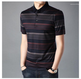 designer tshirts mens Australia - Polo Down Tshirt Striped Print Blouse Color Mens Casual Tshirts Collar Contrast Designer Male Turn Mens Clothing Wlujk