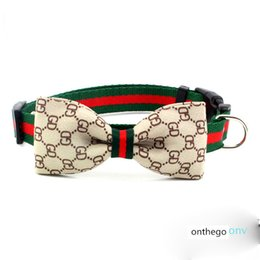 2 Pattern Bow Knot Pets Collars Printed Pattern Pet Collar Personality Charm Durable Nylon Cat Dog Collars