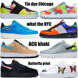 Wholesale dye fabrics for sale - Group buy 1 mens basketball shoes tie dye Chicago what the NYC pop the street raygun crayon white multi color fashion mens womens sneakers