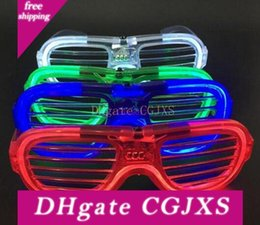 free bags for birthday parties NZ - 120pcs  Lot Led Flashing Light Up Eyeglasses El Led Shutter Glasses Face Mask For Christmas Party Supplies Free Shipping